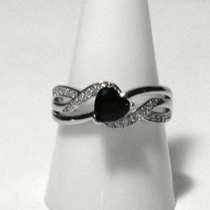 Ring Size 8 Simulated Diamond Heart Black Onyx 428